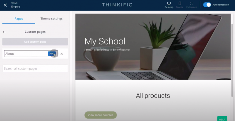 Thinkific-review-tutorial-create-site-about-page