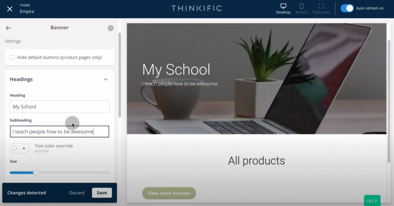 Thinkific-review-tutorial-create-site-customize-heading