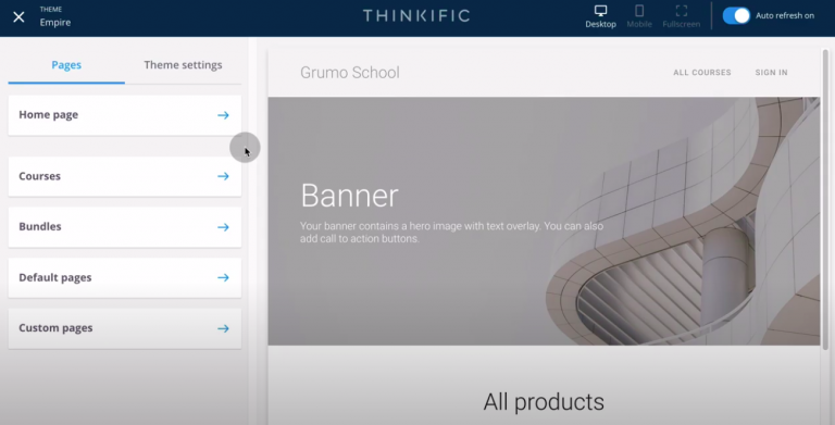 Thinkific-review-tutorial-create-site-customize-theme