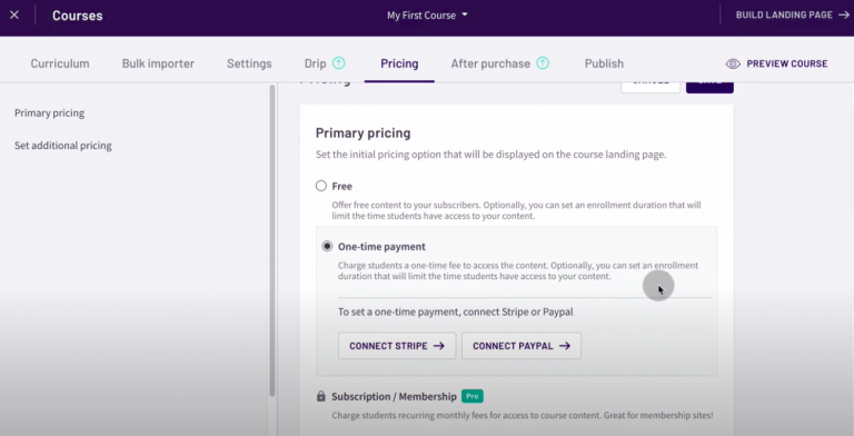 Thinkific-review-tutorial-create-site-set-pricing