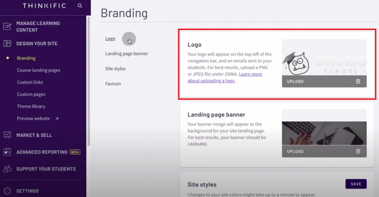 Thinkific-review-tutorial-create-site-upload-logo